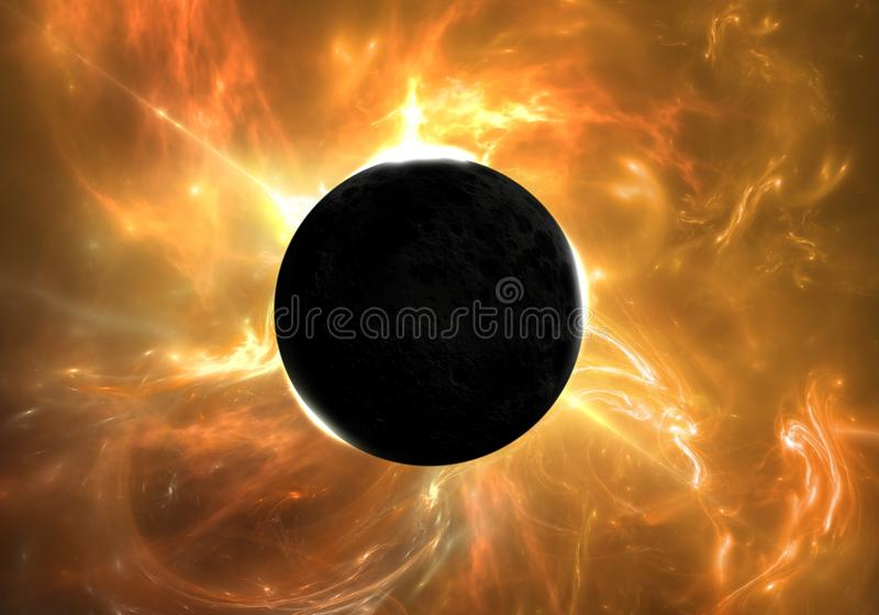 Total eclipse of the Sun royalty free illustration