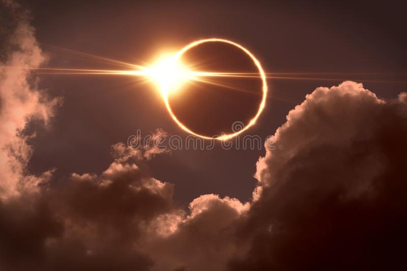 Total eclipse of the Sun. The moon covers the sun in a solar eclipse. royalty free stock photos