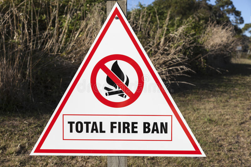 Total Fire Ban. Sign seen in New Zealand royalty free stock photos