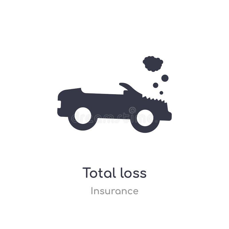 total-losspictogram de geïsoleerde vectorillustratie van het total-losspictogram van verzekeringsinzameling editable zing symbool vector illustratie