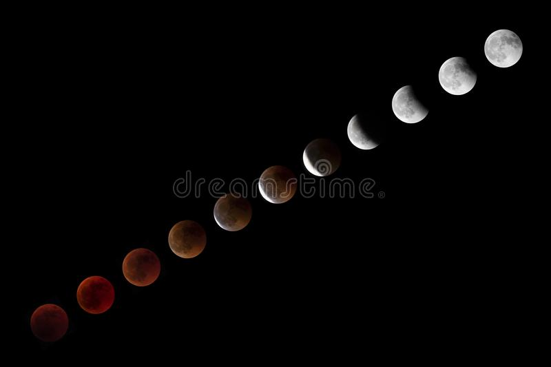 Total Lunar Eclipse sequence with blood moon on July 27 2018. View from Switzerland royalty free stock photo