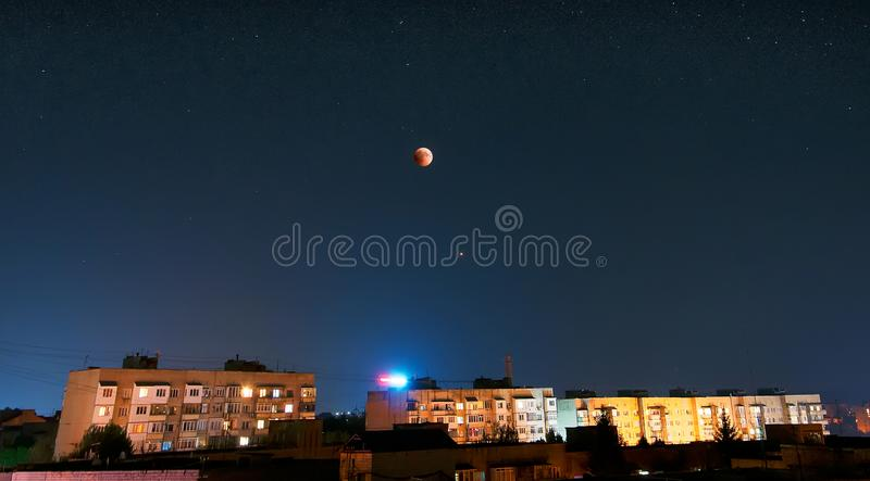July 2018 lunar eclipse. A total lunar eclipse took place on 27 July 2018. Eclipses visible in Chernivtsi, Ukraine. This eclipse`s totality lasted for a period ` royalty free stock photography