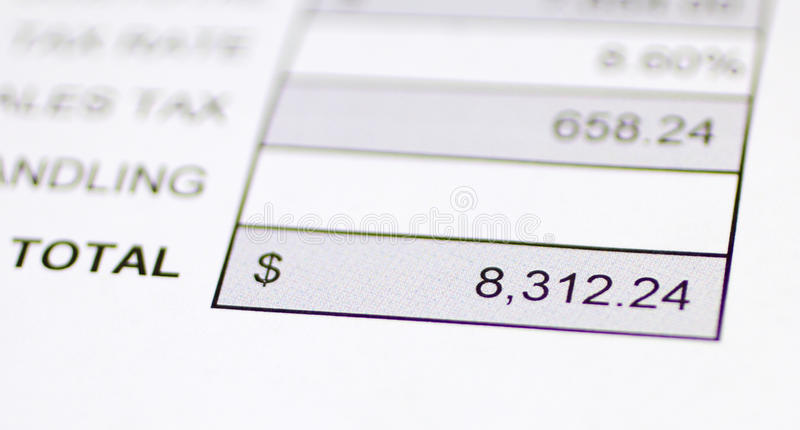 Download Total money due stock photo. Image of receipt, billing - 22946398