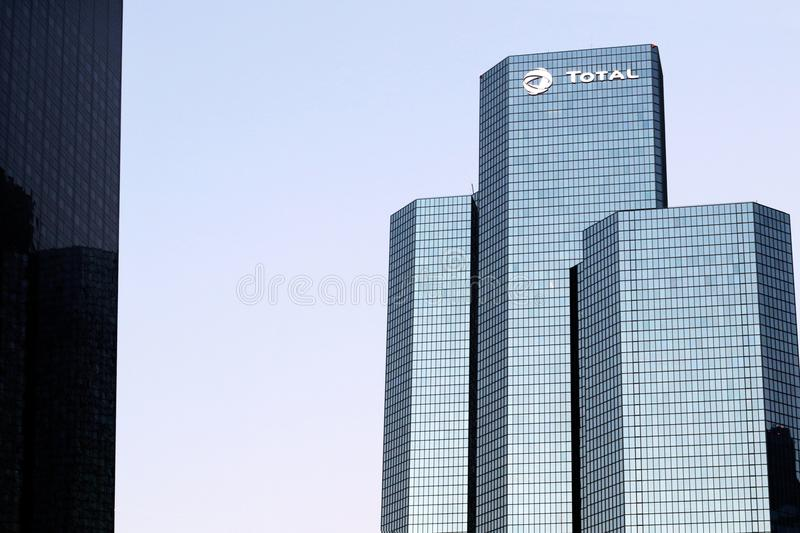 Total Oil Company Tower La Defense Paris headquarters in Courbevoie, france. La Défense Total Oil Company Tower tour Coupole Paris headquarters in Courbevoie royalty free stock photo