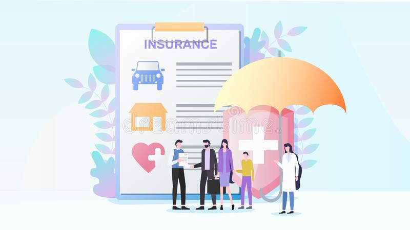 Total Property and Health Insurance Flat Vector. Total Insurance Flat Vector Concept with Insurance Agent Offering Contract to Family with Child Illustration royalty free illustration