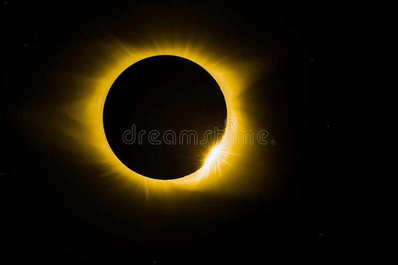 Solar eclipse. Total solar eclipse in 2017 stock image