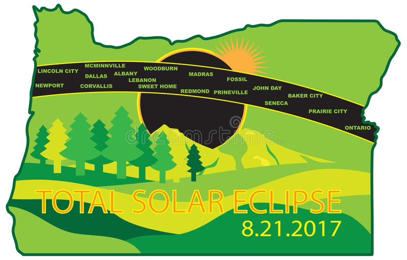 2017 Total Solar Eclipse Across Oregon Cities Map vector Illustration vector illustration