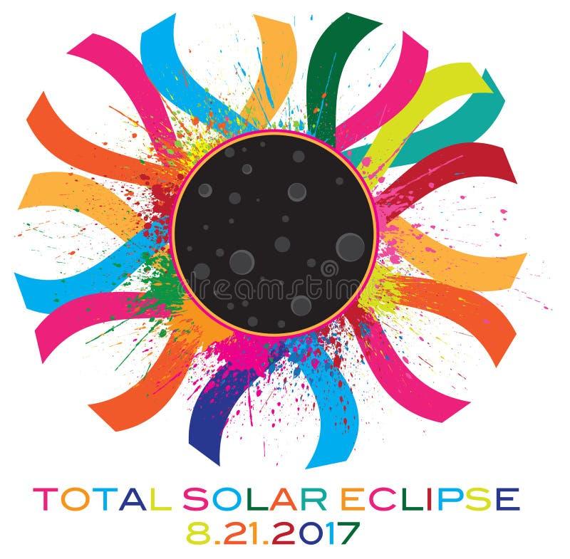 2017 Total Solar Eclipse Corona Text Color vector Illustration stock illustration