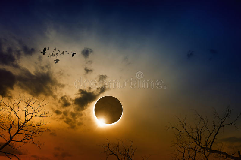 Total solar eclipse in dark red glowing sky. Dramatic scientific background - total solar eclipse in dark red glowing sky, mysterious natural phenomenon when royalty free stock photography