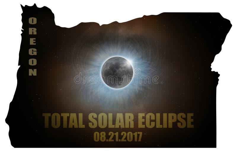 Total Solar Eclipse in Oregon Map Outline USA vector illustration