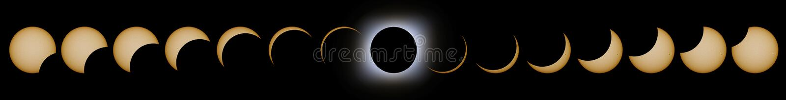 Total Solar Eclipse phases. Composite Solar Eclipse. royalty free illustration