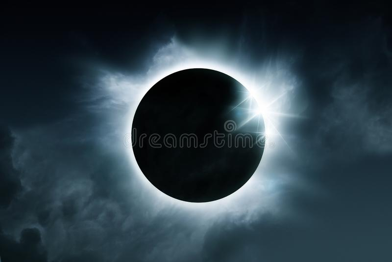 A Total Solar Eclipse Of The Sun. A solar eclipse. The total eclipse is caused when the sun, moon and earth align. Illustration stock illustration