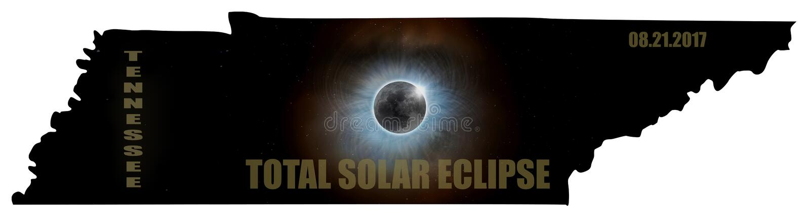 Total Solar Eclipse in Tennessee Map Outline USA royalty free stock images