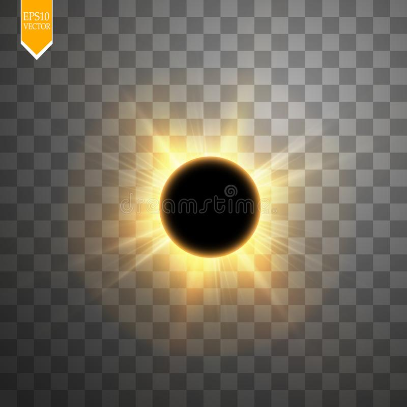 Total solar eclipse vector illustration on transparent background. Full moon shadow sun eclipse with corona vector royalty free illustration