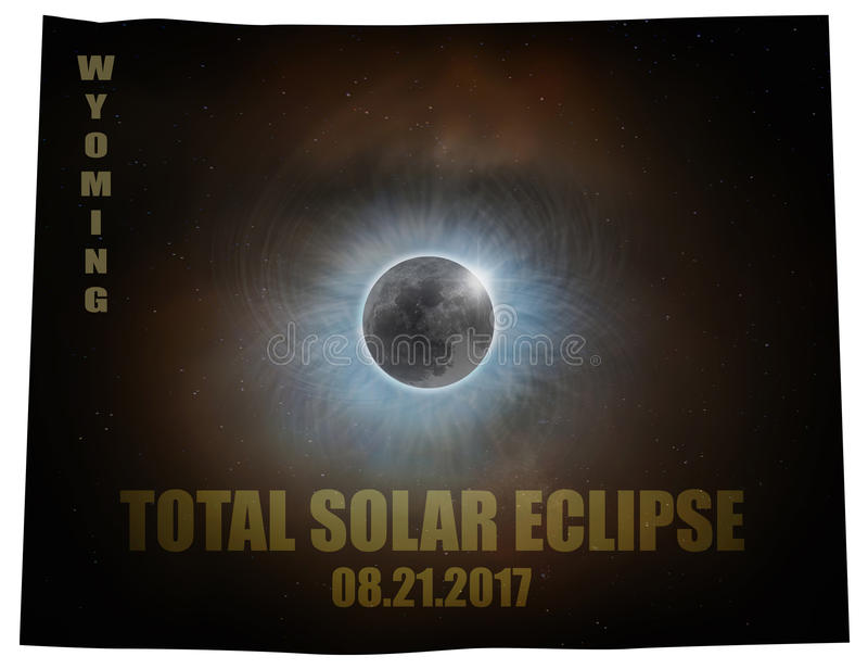 Total Solar Eclipse in Wyoming Map Outline USA stock illustration