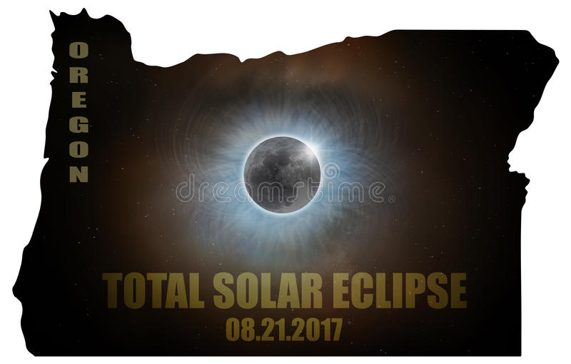Total Solar Eclipse in Wyoming Map Outline USA royalty free stock photos
