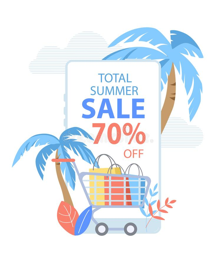 Total Summer Sale Banner, Shopping Cart Paper Bags. Total Summer Sale Vertical Banner, Shopping Cart Full of Paper Bags and Palm Trees on Cloudy Background with royalty free illustration