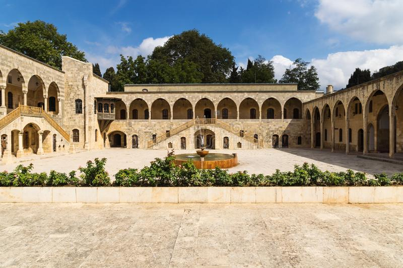 Total view of courtyard at Emir Bachir Chahabi Palace Beit ed-Dine in mount Lebanon Middle east, Lebanon. Total view of courtyard at Emir Bachir Chahabi Palace royalty free stock photos