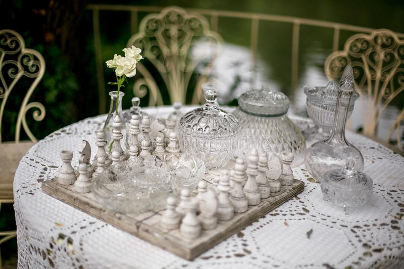 Total white chess on the table royalty free stock image
