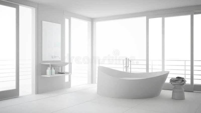 Total white minimalist bathroom with big bath tub and panoramic stock illustration