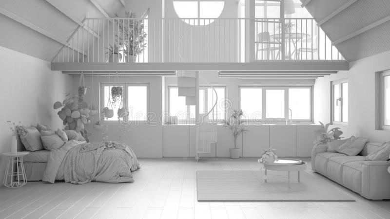 Total white project draft, loft with mezzanine and staircase, parquet, windows. Studio apartment, open space, bedroom, living room. Kitchen and balcony terrace royalty free stock photography
