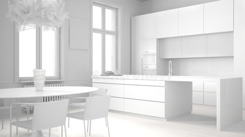 Total white project draft of minimalist kitchen in classic room, parquet floor, dining table, chairs, island and panoramic windows. Modern architecture concept vector illustration
