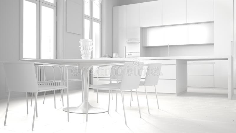 Total white project draft of minimalist kitchen in classic room, parquet floor, dining table, chairs, island and panoramic windows. Modern architecture concept stock illustration