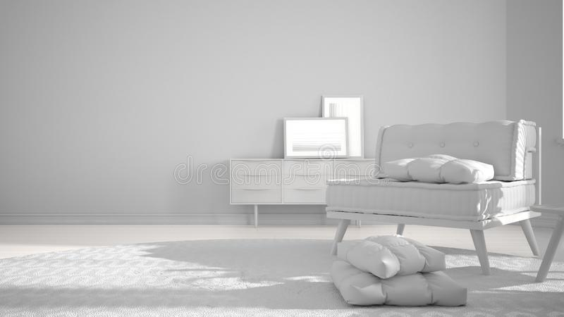 Total white project draft, minimalist living room with big round carpet and sofa with pillows, modern interior design architecture. Concept idea stock image