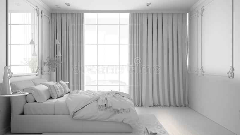 Total white project draft of modern bedroom in classic room with wall moldings, parquet, double bed with duvet and pillows, mirror. And decors, interior design royalty free illustration