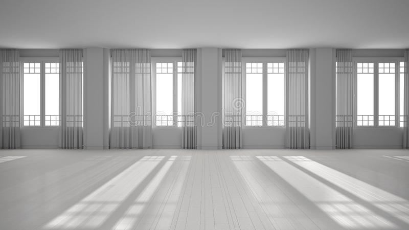 Total white project of empty room interior design, open space with big panoramic windows with curtains and parquet, stucco molded. Walls, classic architecture stock photography