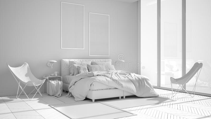 Total white project of minimalist bedroom, bed with pillows and blankets, parquet, bedside tables and carpet, large panoramic royalty free illustration
