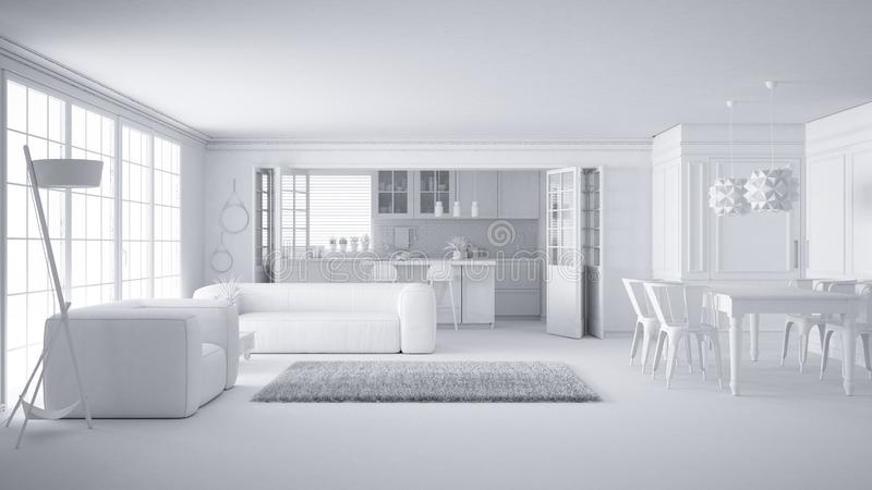 Total white project of minimalist white living room and kitchen, big window and carpet fur, scandinavian classic interior design vector illustration