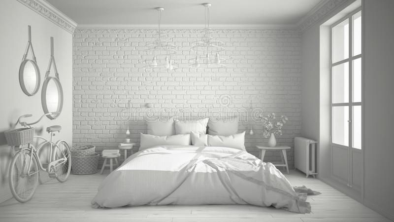 Total white project of modern bedroom with cozy double bed, brick wall, wooden floor and big window, scandinavian minimalist arch stock illustration