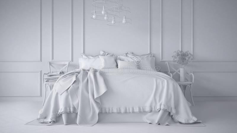 Total white project of vintage classic bedroom with soft bed full of pillows and blankets, white molded wall, wooden side chairs, vector illustration