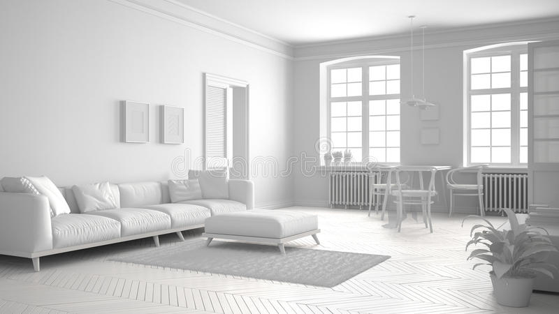 Total white scandinavian living room, minimalist interior design stock illustration