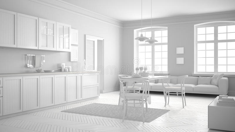 Keuken Interieur Scandinavisch : Totale witte skandinavische keuken minimalistisch binnenlands