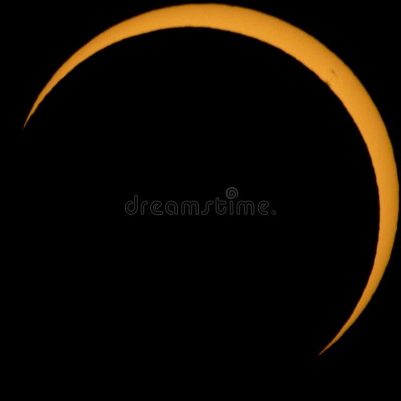 Totalité d'Approching de l'éclipse solaire photo libre de droits