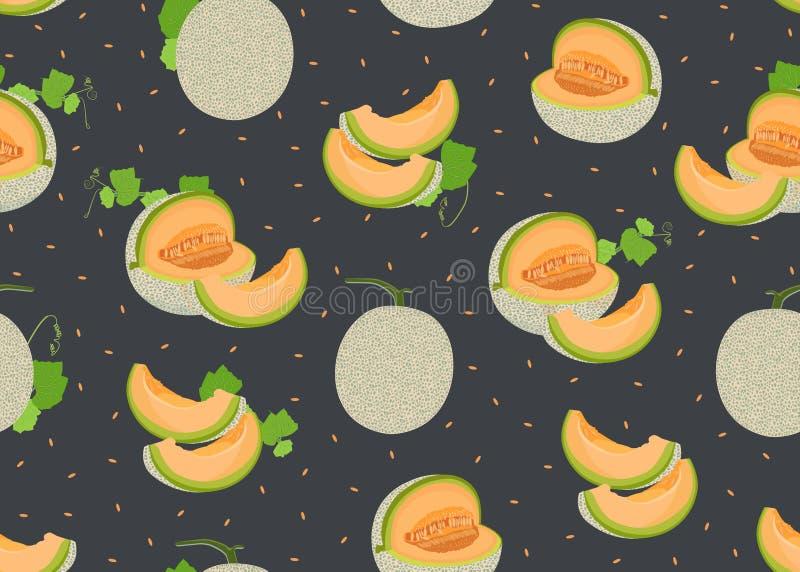 Totalité de melon et modèle sans couture de tranche sur le fond noir avec la graine, fond frais de modèle de melon de cantaloup illustration stock