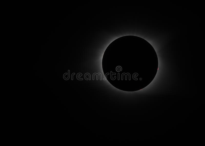 Totality begins in 2017 solar eclipse. Over the United States royalty free stock photo