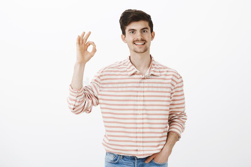 Totally agree with you. Indoor shot of calm happy caucasian guy with beard and moustache, raising hands with okay royalty free stock photos