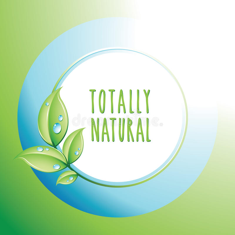 Totally Natural card. Totally Natural icon, template design for cards, invitations, background. Ecology and biologic concept royalty free illustration