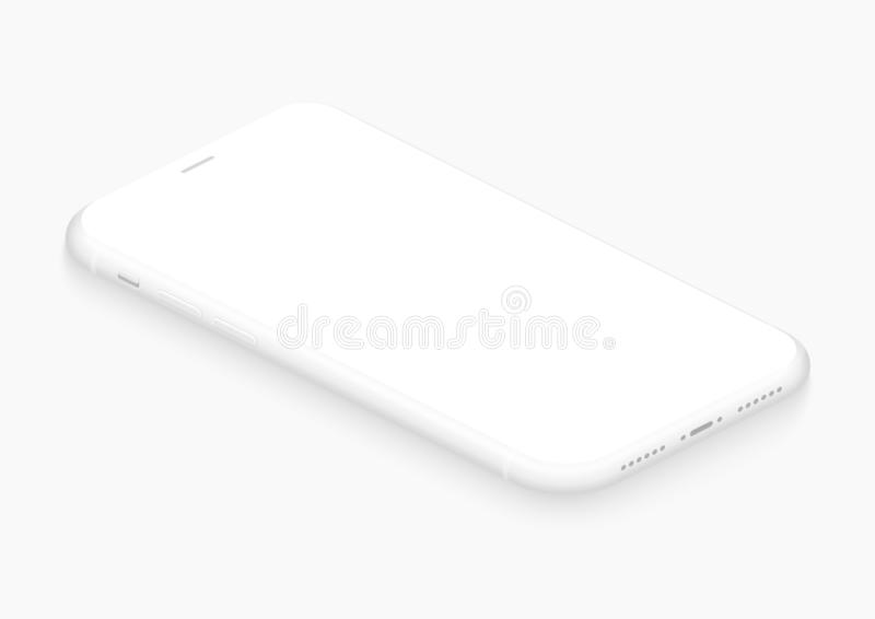 Totally soft isometric white vector smartphone. 3d realistic empty screen phone template for inserting any UI interface stock illustration