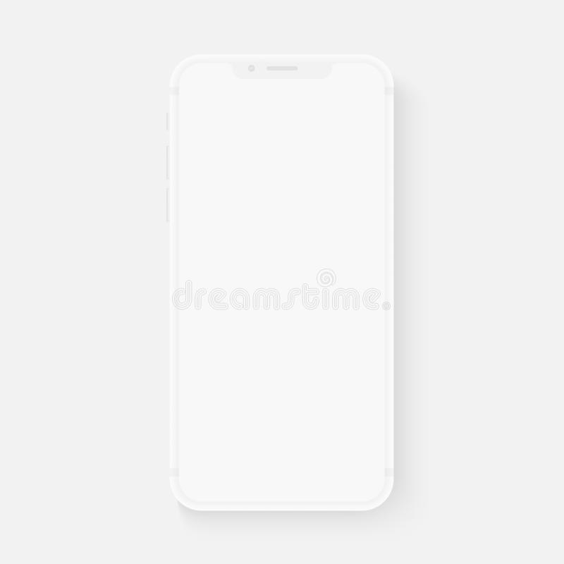 Totally soft realistic white vector smartphone. 3d realistic phone template for inserting any UI interface test or. Business presentation. Floating soft mock up stock illustration
