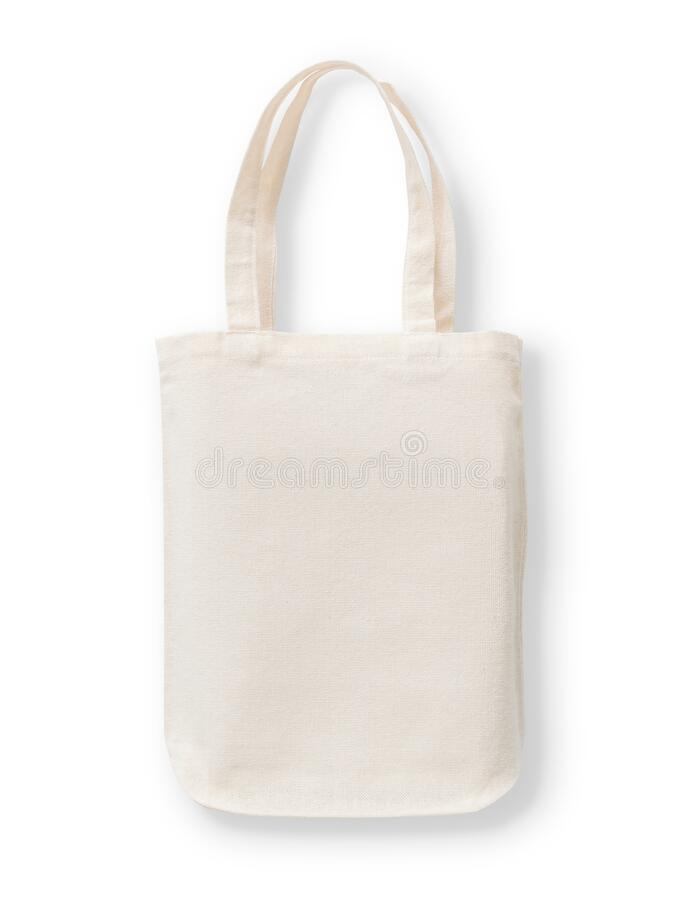 Free Tote Bag Mockup, Blank Canvas Cotton Fabric Cloth For Eco Shopping Sack Mock Up Template Isolated On White Background Stock Photos - 215664953