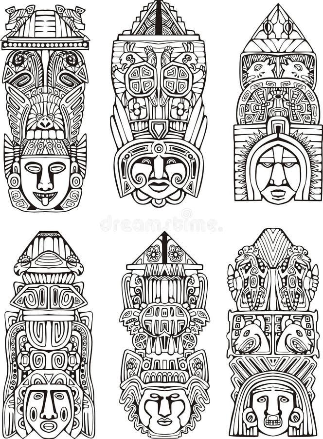 Totemów słupy ilustracja wektor