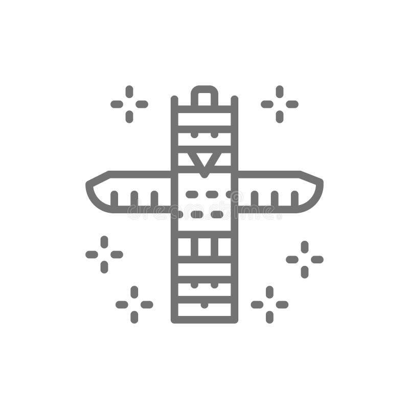 Totem animal tradicional, linha indiana nativa ícone do totem ilustração stock