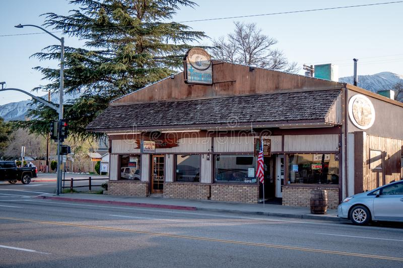 Totem Cafe in Lone Pine - LONE PINE CA, USA - MARCH 29, 2019. Totem Cafe in Lone Pine - LONE PINE CA, UNITED STATES OF AMERICA - MARCH 29, 2019 royalty free stock photography