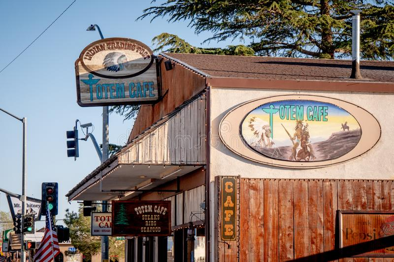 Totem Cafe in Lone Pine - LONE PINE CA, USA - MARCH 29, 2019. Totem Cafe in Lone Pine - LONE PINE CA, UNITED STATES - MARCH 29, 2019 royalty free stock images