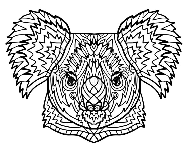 totem coloring page adults head koala zen art style zoo animal ethnic tribal african print suits as totem coloring