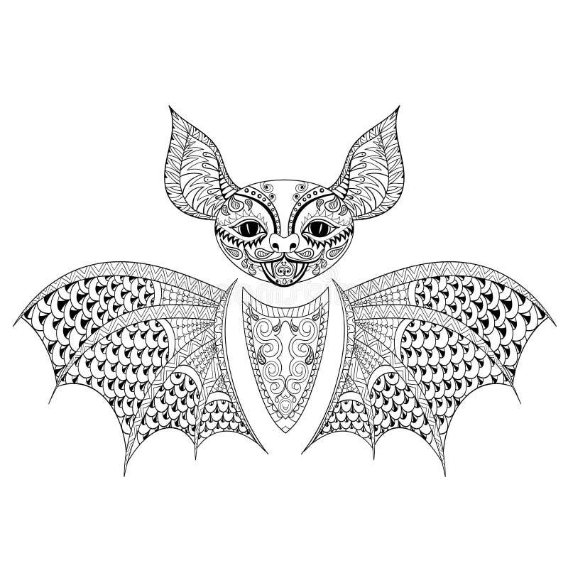 Totem del pipistrello di Zentangle per l'anti pagina adulta di coloritura di sforzo illustrazione vettoriale